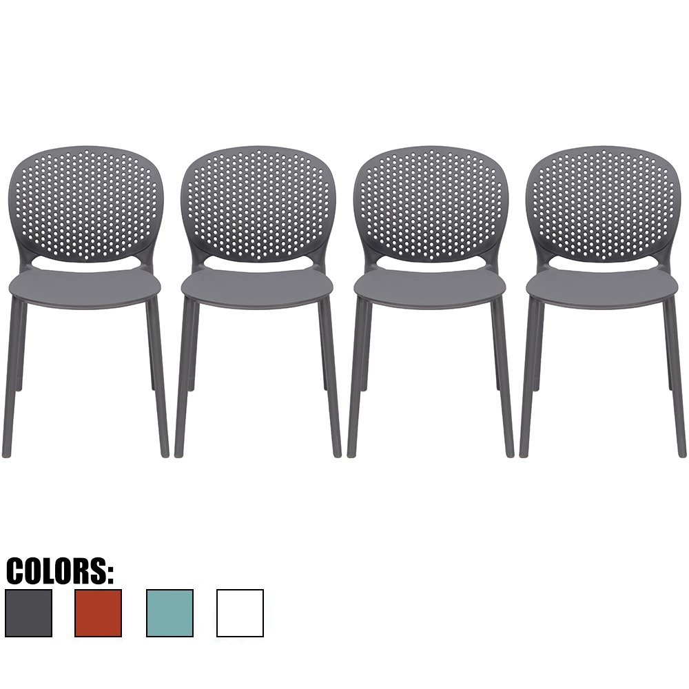 2xhome - Set of 4 - Black/Dark Grey Dining Room Chairs - Plastic Chair with Backs Designer Chair Modern Chair Indoor Outdoor Light weight Armless Chair - Matte Finish by 2xhome