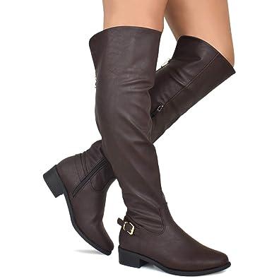 aaf0d4198e2 Premier Standard - Women s Strappy Buckle Over Knee High Boots - Low Heel  Sexy Zipper Walking