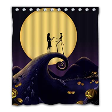 Patwee Happy Halloween Romantic Design Shower Curtain Waterproof Fabric for Bathroom Decoration 66x72 Inch