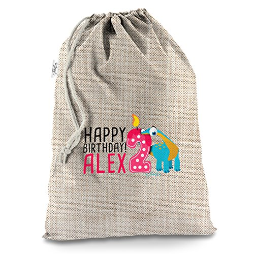 Personalised Baby Dinosaur 2Nd Birthday X-Large Hessian Christmas Santa Sack Gift Bag (X-large Santa)