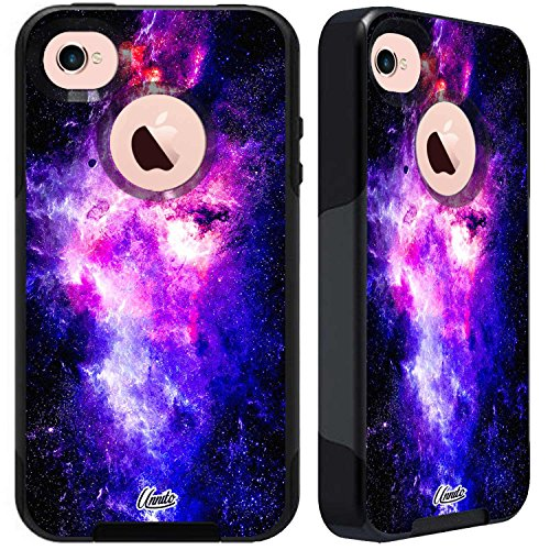 Unnito iPhone 4 Case - Hybrid Commuter Case   Slim Cover with Hard Shell Design and Soft Inner Layer Compatible with iPhone 4S Black Case (Nebula Pink Blue)