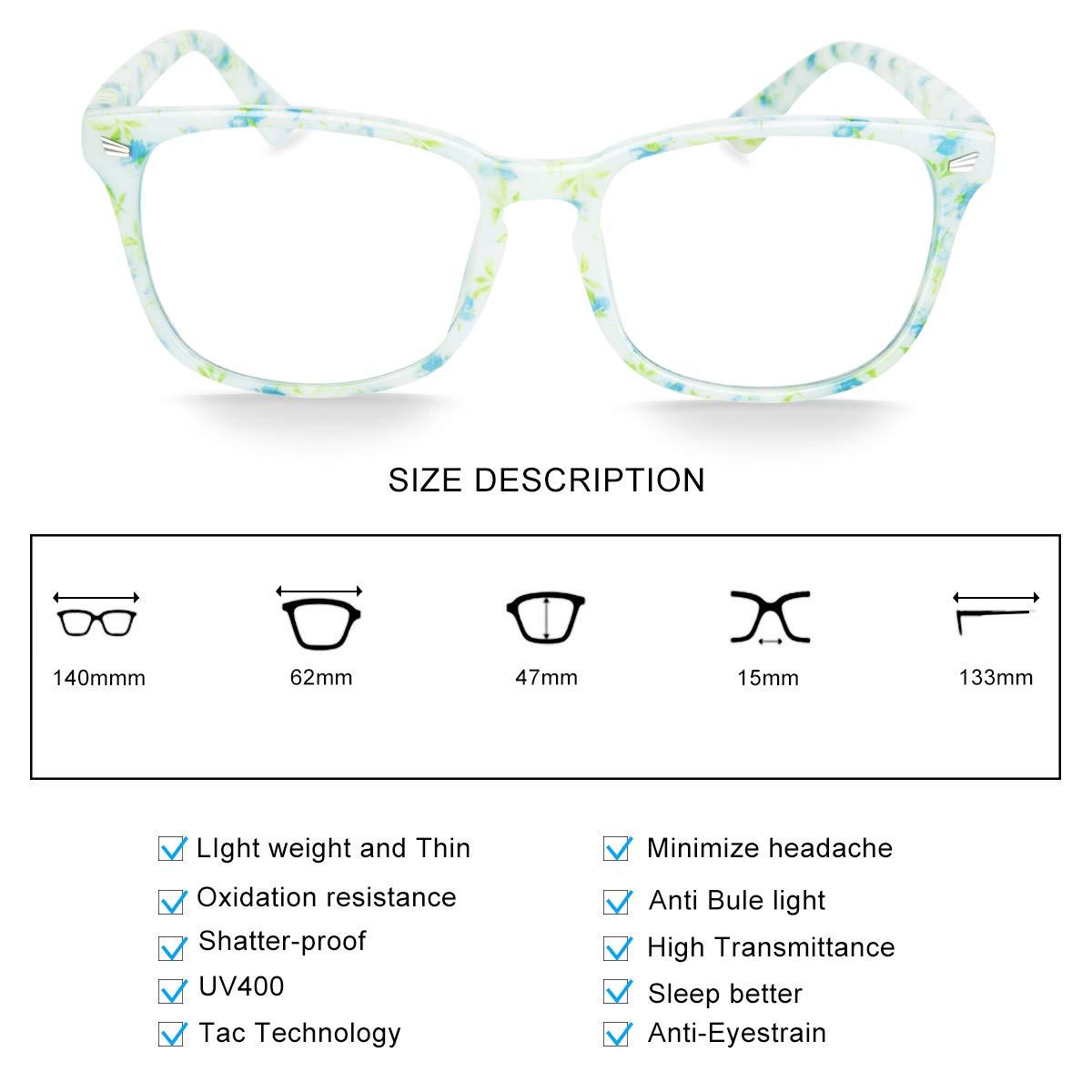 Computer Reading//Gaming//TV//Phones Glasses for Women Men,Anti Eyestrain /& UV Glare LI8081 Livh/ò Blue Light Blocking Glasses Bean Flower