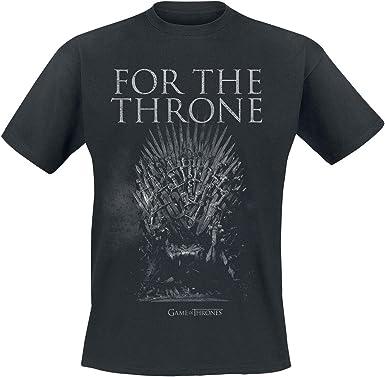 Game Of Thrones Juego de Tronos For The Throne Camiseta Negro S: Amazon.es: Ropa y accesorios