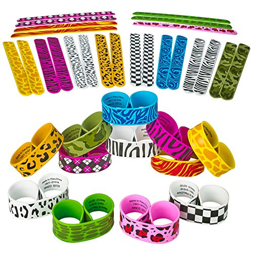 (Kicko 9 Inch Slap Bracelets for Kids - 36 Pack Wristbands with Prints Assortments - Perfect, Novelty Toys Collection, Fashion Accessories, Party Supplies, Prizes, and Goodie Bag)