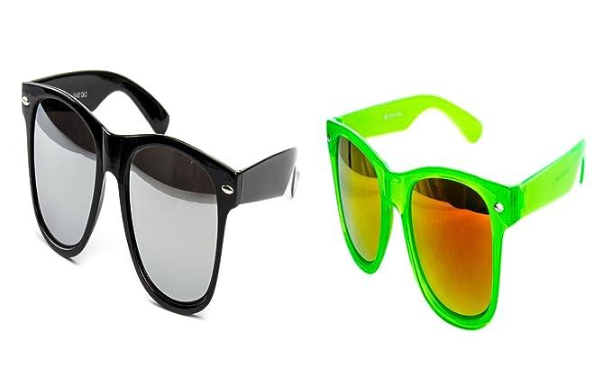 2 er Set Nerd Sonnenbrille Nerd Brille Feuer verspiegelt Schwarz + Weiß RZXdv74lbm