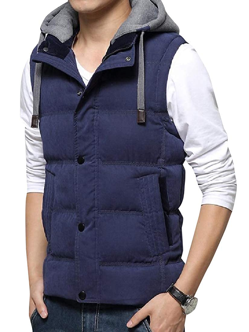 Losait Mens Thickening Water-Resistant Removable Hood Puffer Vest