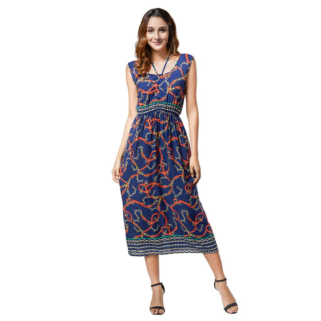 Women's High Low Beach Dress Haalife◕‿ Ladies Floral Printed Sleeveless Halter Neck Floral Printed Maxi Dress Purple by HAALIFE Women's Clothing