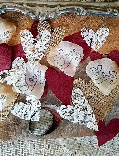 Rose Petal Heart - Burlap and Lace Silk Rose Petals Burgundy, Flower Girl throw, rustic wedding aisle Confetti, table scatter, by Burlap And Bling Design Studio