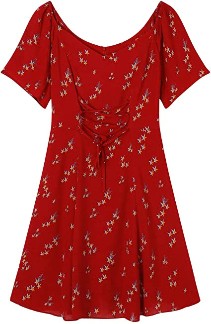 Qlj02 Robe Rouge Brodee Femme Taille Haute Col Rond Manches Courtes Bandeau Robe Habillee Amazon Fr Sports Et Loisirs