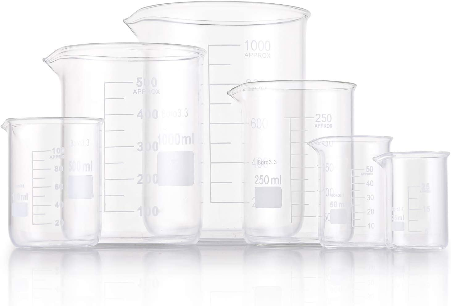 Griffin Low Form 25//50//100//250//500//1000ml Yarlung 6 Pack Glass Beakers Set Graduated Measuring Beakers Thick Boro 3.3
