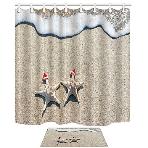 NYMB Christmas Decor Sea Stars Couple In Red Santa Hats On Ocean Sandy Beach 69X70in Mildew Resistant Polyester Fabric Shower Curtain Suit With