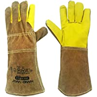 Animal Handling Gloves 35cm GAUNTLET LEATHER Kevlar DOG CAT BIRD REPTILE by Handmax