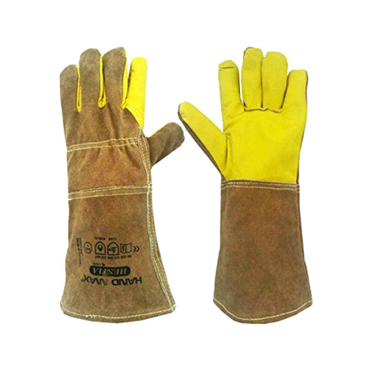 Animal Handling Gloves 35cm GAUNTLET LEATHER Kevlar DOG CAT BIRD REPTILE