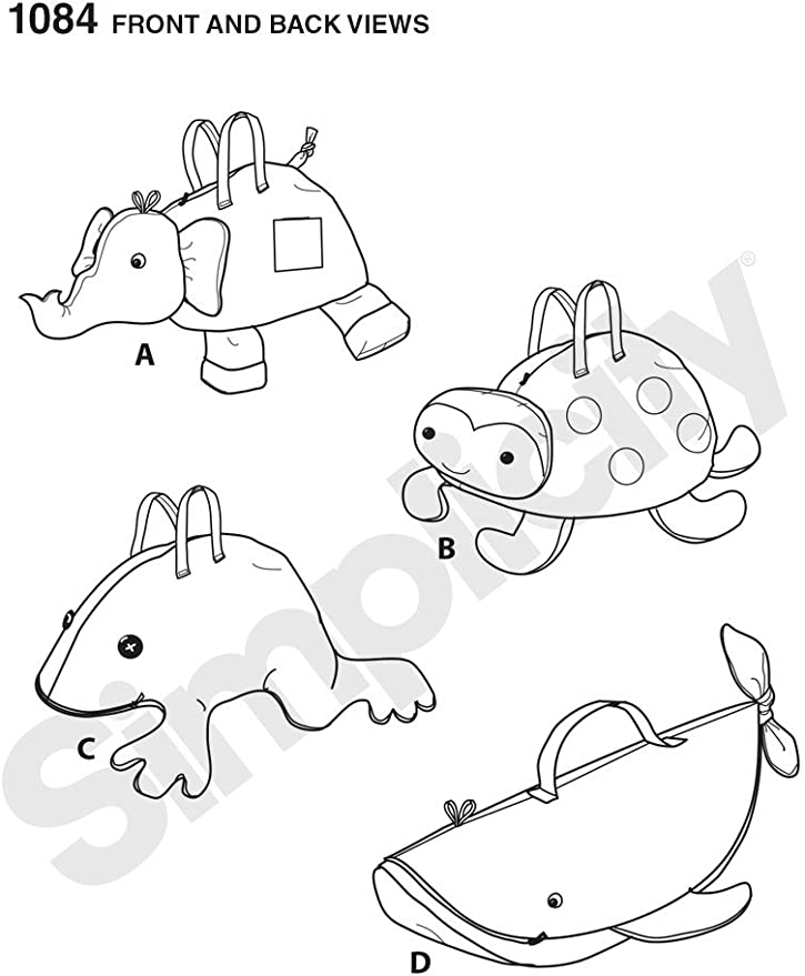 Elephant~Frog~LadyBug~Whale CUTE! Simplicity Pattern 1084  Stuffed Animal Bags