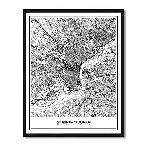 Susie Arts 11X14 Unframed Philadelphia Pennsylvania Metropolitan City View Abstract Street Map Art Print Poster Wall Decor V285 (Of Philadelphia Map)