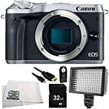 Canon EOS M6 Mirrorless Digital Camera (Body Only, Silver) 6PC Accessory Bundle – Includes 32GB SD Memory Card + MORE - International Version (No Warranty)