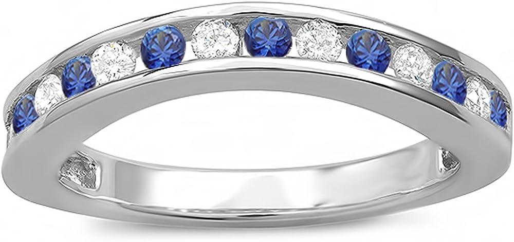 DazzlingRock Collection Diamante Redondo de Oro de 10k y Mujer de Zafiro Azul Protector Curvo a Juego con la Alianza Nupcial 9