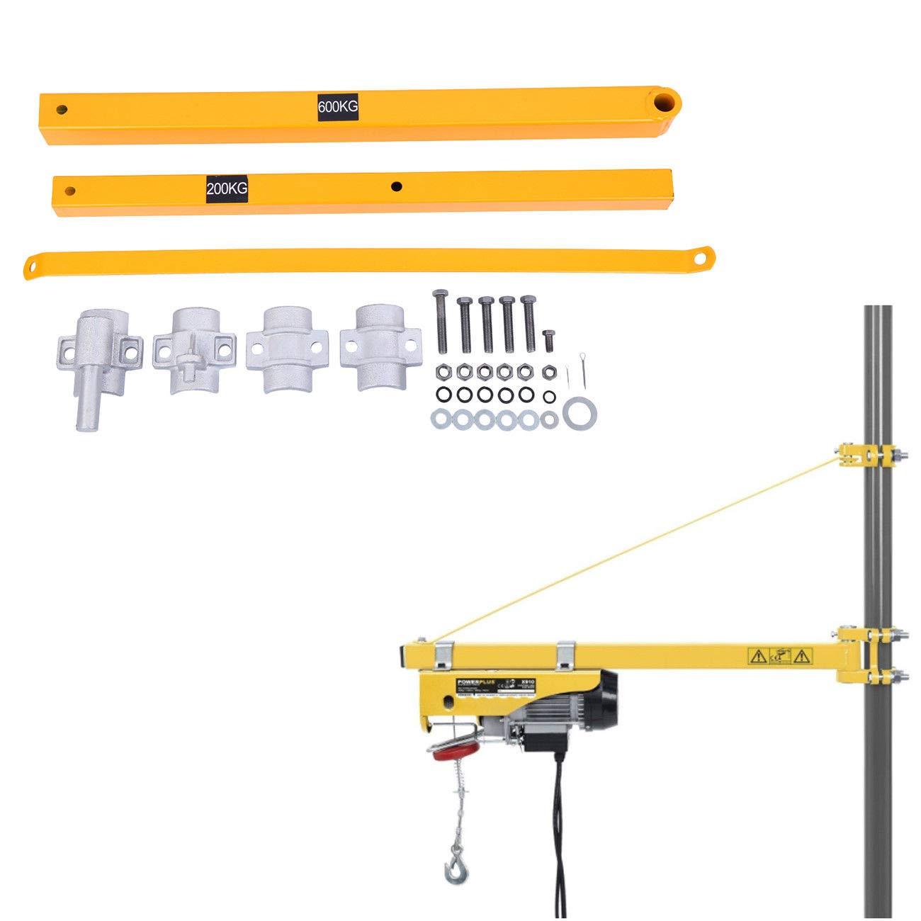 Paneltech pivotant Bras de 75cm à 110cm enroulement Palan électrique Swing support Bras de levage pour bras de support 600kg Capacité de charge