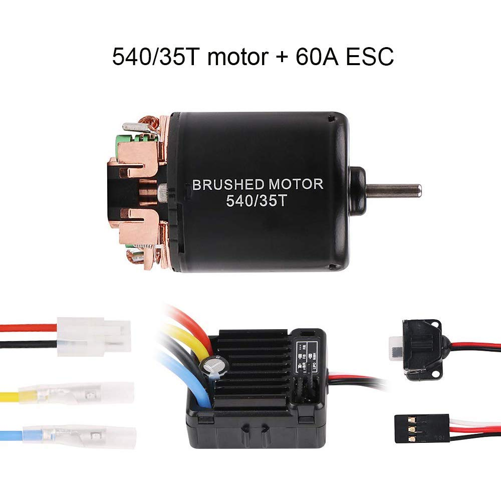 Crazepony-UK 540 35T Brushed Motor with 60A ESC Carbon Brushed Shaft 3.175mm for 1//10 RC Car Truck Running Off-Road Vehicle