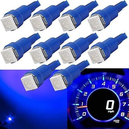 1 Blue 5050 SMD LED T5 Wedge 12v Interior LED Bulb
