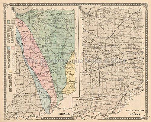 - Geological Climate Indiana Antique Map Baskin 1876 Original Indiana Decor History Gift