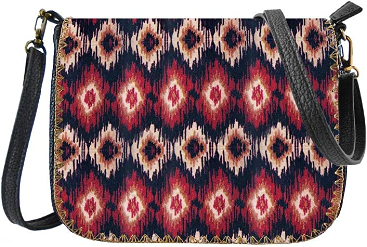 Mlavi colorful Ikat pattern print vegan//faux leather cross body bag