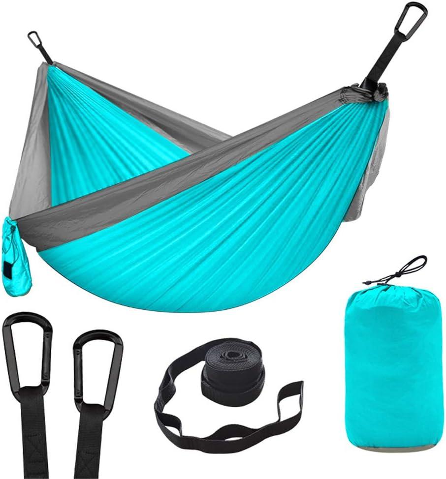 Hamaca para acampar al aire libre gris / azul, saco de dormir de hamaca doble paracaídas doble de 210tnylon, mosquetón profesional negro mate, cuerda de amarre anti-rotura de 3 m, viaje, patio trasero