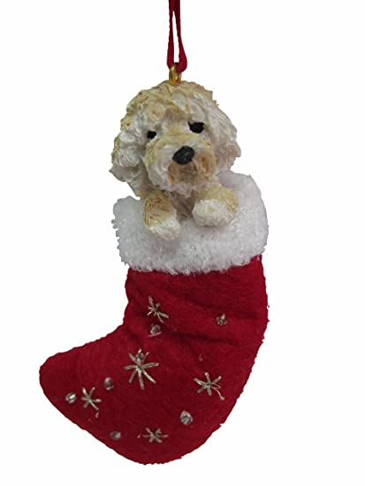 goldendoodle christmas stocking ornament with santas little pals hand painted