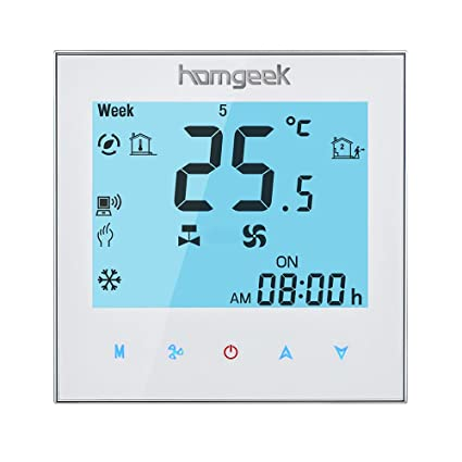 Homgeek WIFI Programmable Thermostat Touch Screen for Central Air Conditioning 2-pipe Fan Valve Temperature