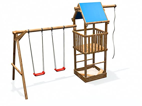Klettergerüst Holz Streichen : Spielturm mit rutsche schaukel 2 fach sandkasten kletterseil