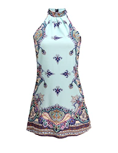 PAKULA Women's Sleeveless Vintage Printed Ethnic Style Casual Dress