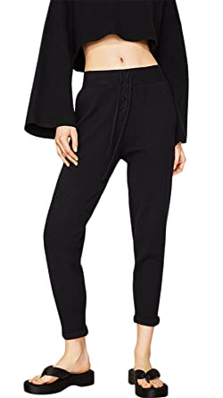 70a1e12d59df4 Active Sports Gym Athletic Cropped Crop Capri Capris Tapered Sweatpants  Track Pants Joggers With Lace Up