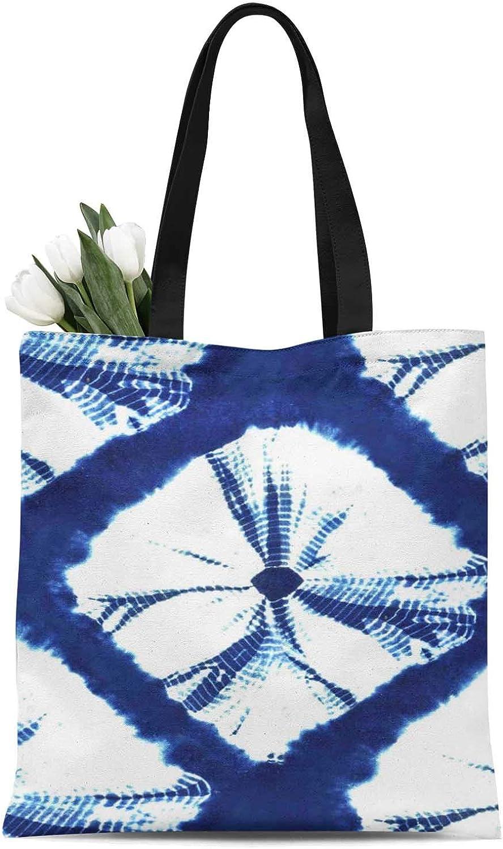 S4Sassy Azul lazo y tinte shibori bolsa de lona de compras de ...