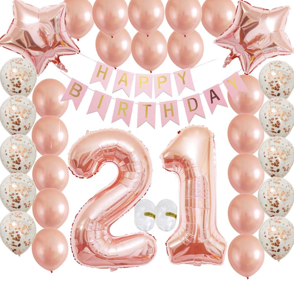 Cheeringup 21st Birthday Decorations Party Supplies Set Rose Gold Confetti Latex Number Balloons Happy Banner As Gift For Her GirlsWomenMen