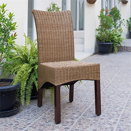 International Caravan SG-3307-2CH-IC Furniture Piece Campbell Rattan Wicker Stained Dining Chair (Set of 2) (Rattan Set Room Dining Chairs With)