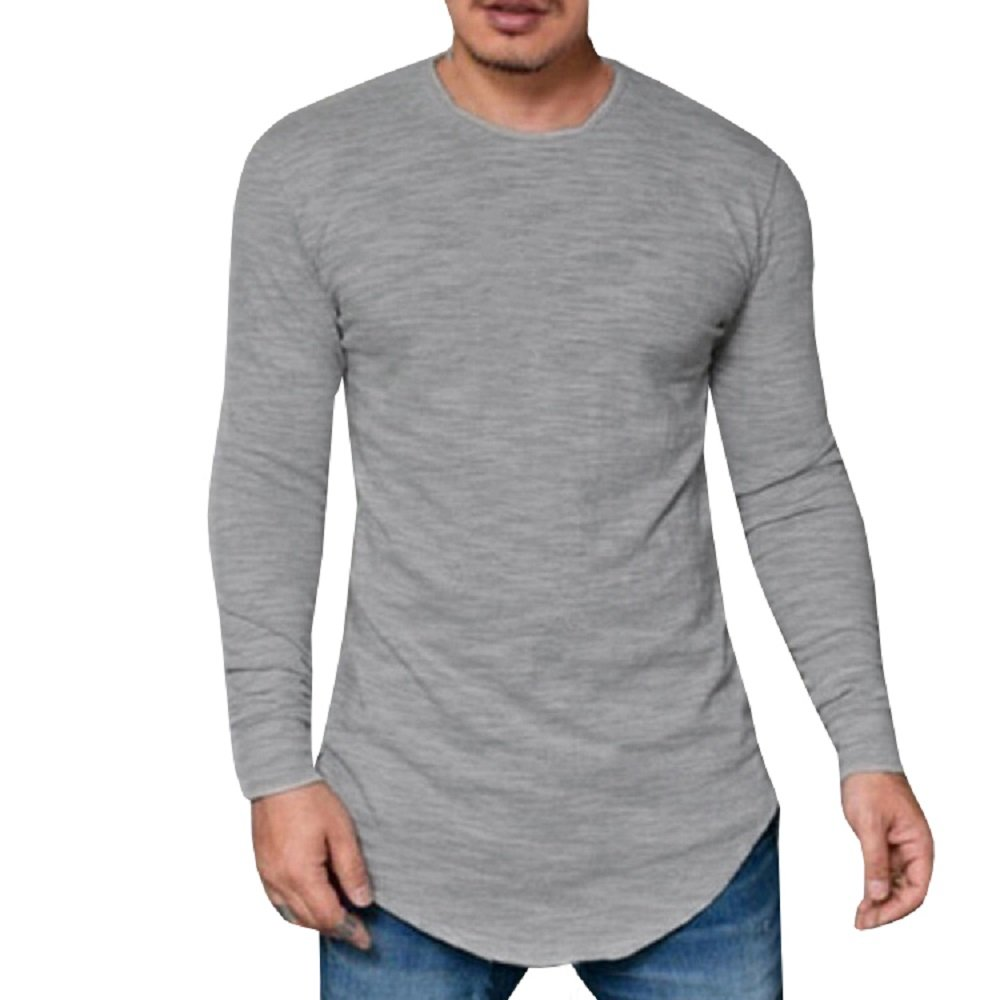 9e8611f0f Long drop tail,long sleeve,curved hem,crew neck,men's t-shirt,solid  color.Pair up with any clothes will perfectly fit.