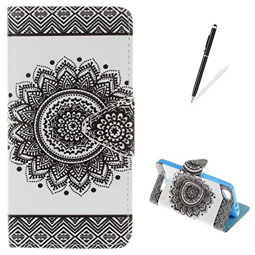 Wiko Lenny 2 Flip Wallet Case,KaseHom Slim Premium Leather Holster [Free Stylus Pen] with Dual Card Slots Kickstand Colourful Pattern Build in Rubber Shockproof Bumper Cover Black Mandala -