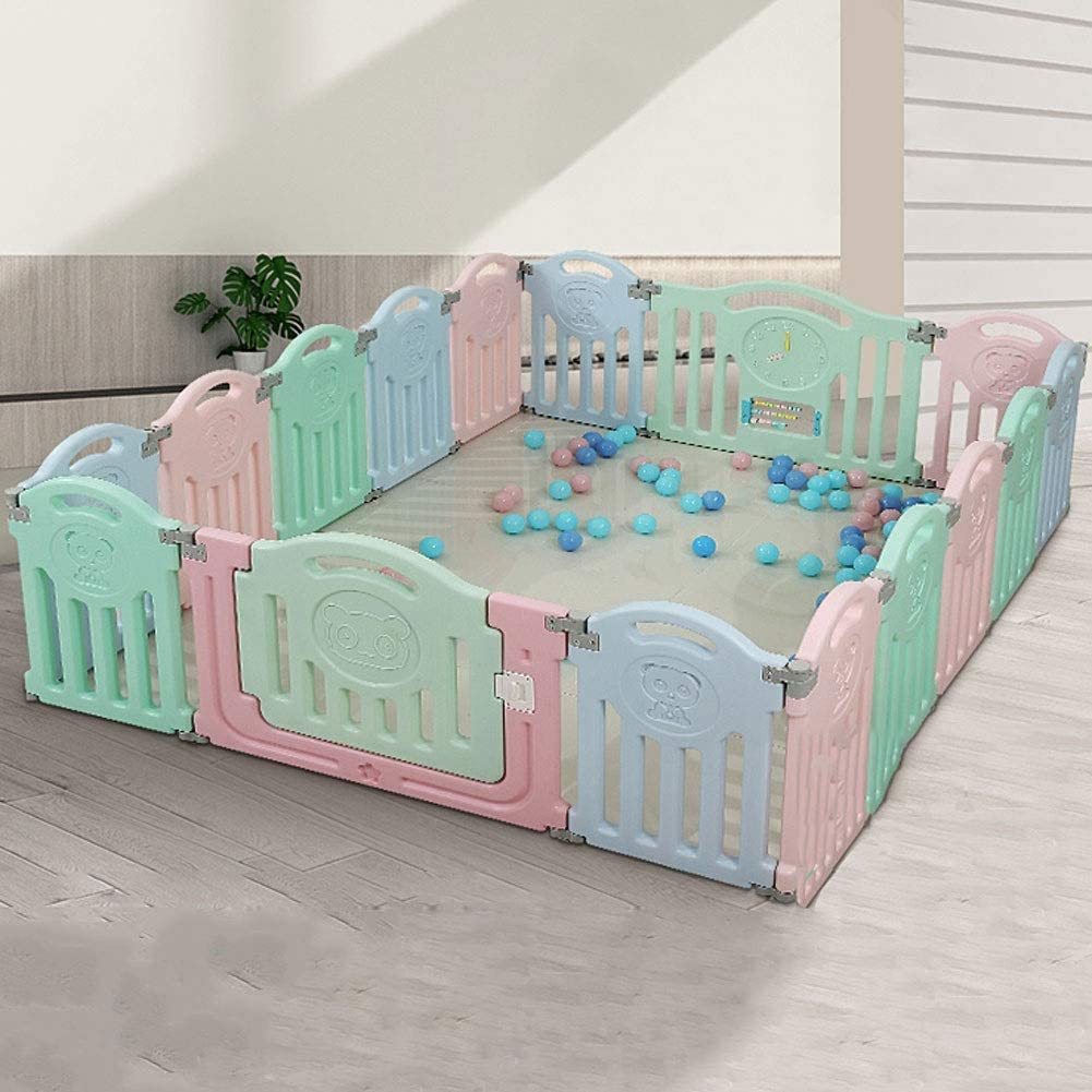 ベビーサークル児童フェンス扉付きロック可能3ヶ月~6歳水洗い可能折り畳み式滑り止め安全を固める多目的子供のベビーサークル (Size : 14+2)