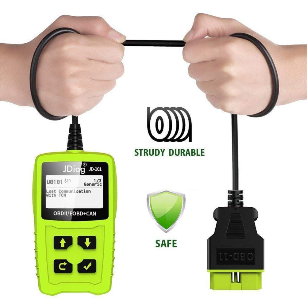 OBDKCAN JD101 OBD2 Code Reader Auto Car Scanner Battery Tester Car Engine Diagnostic Tool Check Engine light Erase Fault Codes Suitable for EOBD Vehicles