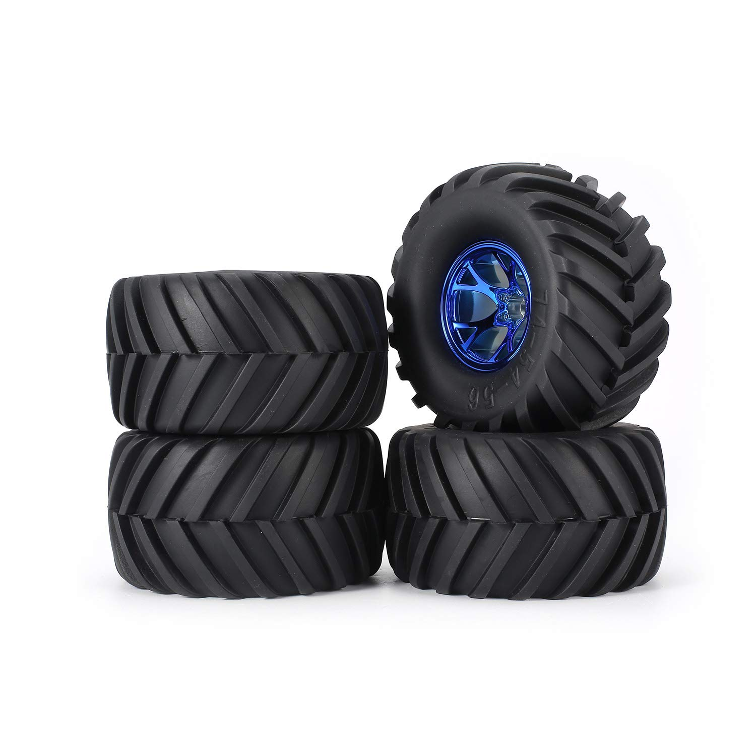 bluee RC Tyre AUSTAR 4pcs AX-3003 130mm Rim Rubber Tyre Tire Wheel Plastic Hub for 1 10 RC Big Feet Model HSP HPI Beadlock Spare Parts