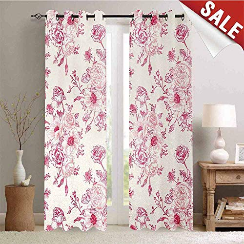 (Hengshu Floral Customized Curtains Romantic Rose Flower Bouquet Blooms in Soft Pastel Tones Botanical Rococo Design Window Curtain Drape W72 x L96 Inch Light Pink)
