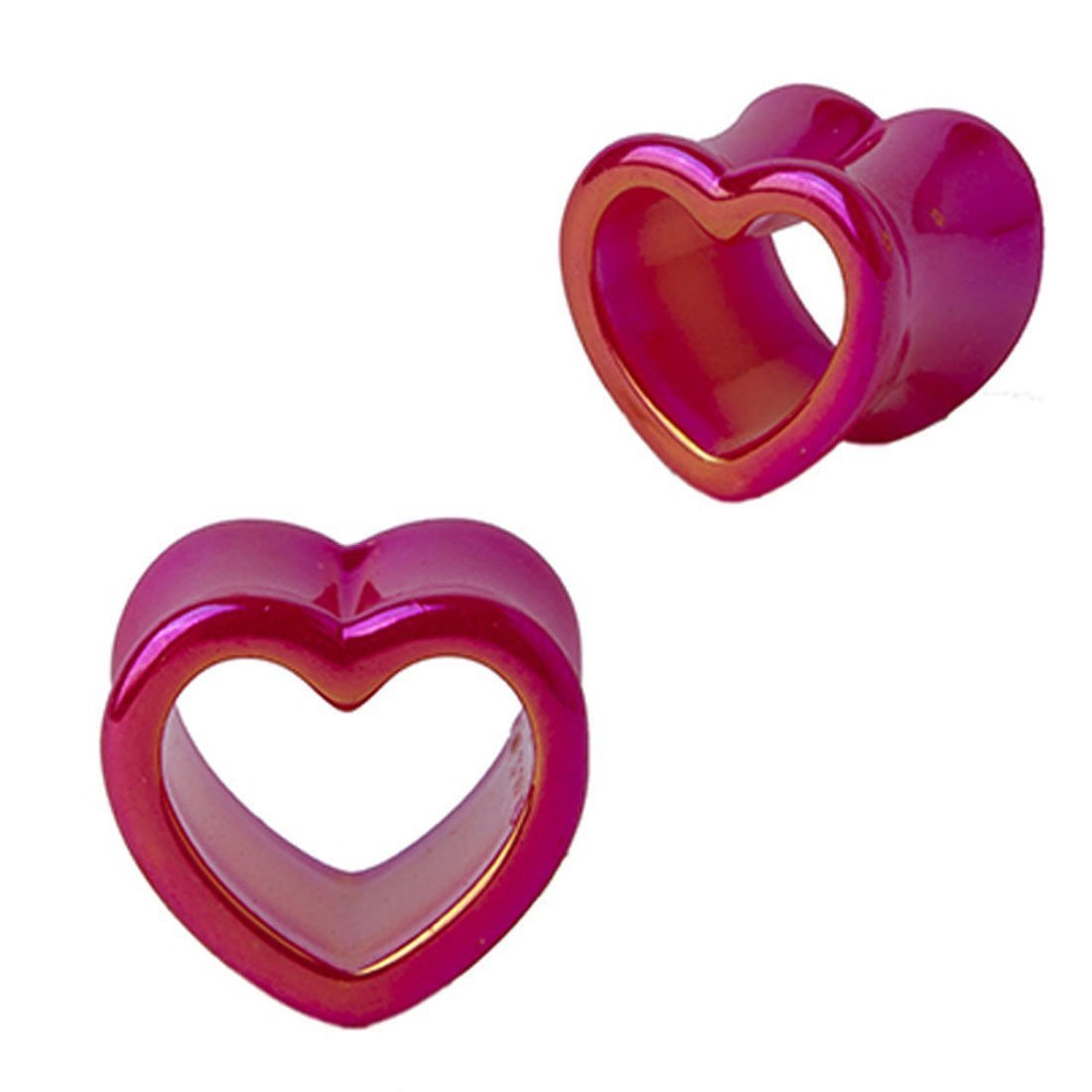 BodyJ4You Plugs Glossy Heart Tunnel Acrylic Ear Stretcher Expander Gauges 2G-14mm (2 Pieces) PL6019-0G