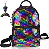 School Backpack for Girls Sequin Kids Elementary Bag Rainbow Flip Sequins Cute Preschool