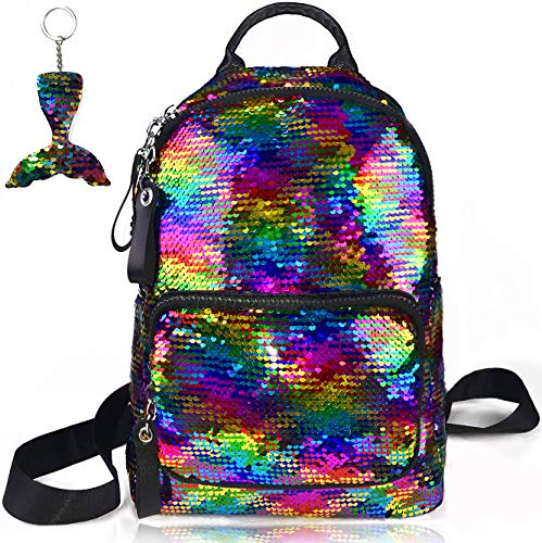 Girls Sequin Backpack Kids Mini Bag Rainbow Flip