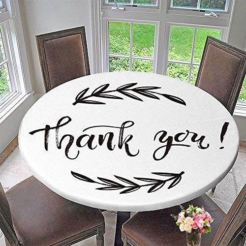 PINAFORE HOME Simple Modern Round Table Cloth Thank You Card Thanks Vector Isolated Drawn Letter Doodle Wreath Printable for Daily use, Wedding, Restaurant 40
