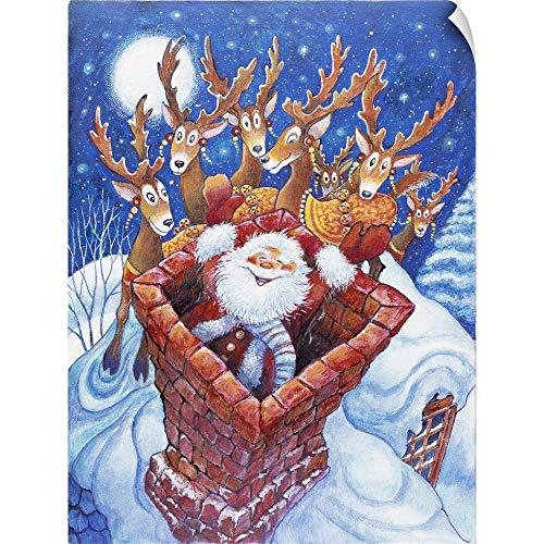 - CANVAS ON DEMAND Santa at The top of The Chimney Wall Peel Art Print, 36