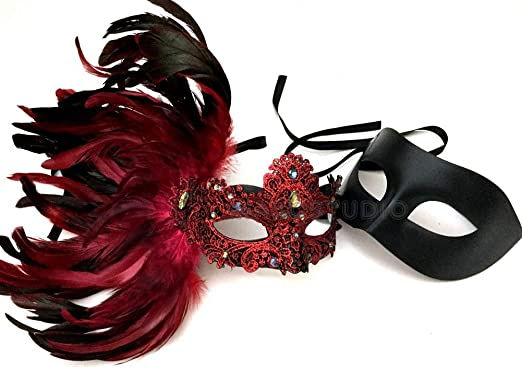 Men and Women Couple Black Silver Masquerade Lace mask pair Prom Birthday Party