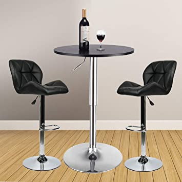 Amazoncom 3 Pieces Bar Table Set 24 Inch Round Height Adjustable