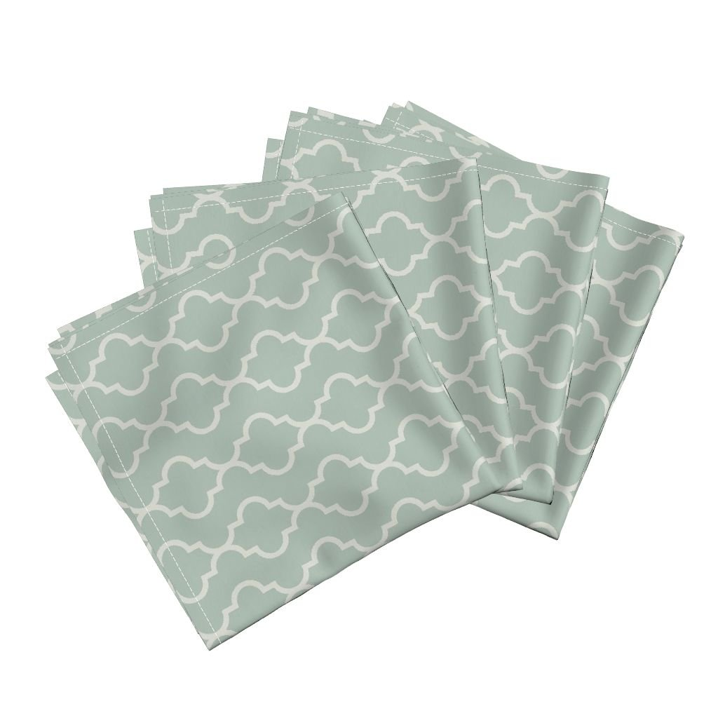 Roostery Quatrefoil Stripe Moroccan Spa Ogee Classic Modern Traditional Linen Cotton Dinner Napkins Spa and Cream Quatrefoil by Willowlanetextiles Set of 4 Dinner Napkins