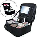 """Travel Makeup Bag with Big Mirror Portable Cosmetic Case 10"""" Waterproof Makeup Train Case Brushes Toiletry Jewelry Digital accessories Black"""
